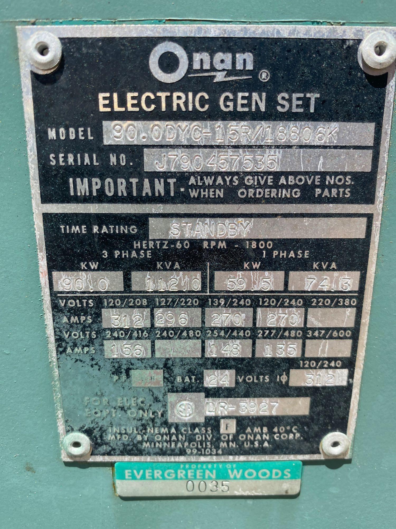 ONAN 90 DYC GENERATOR, 90 KW, 112KVA, 1085 HOURS SHOWING - Image 11 of 11