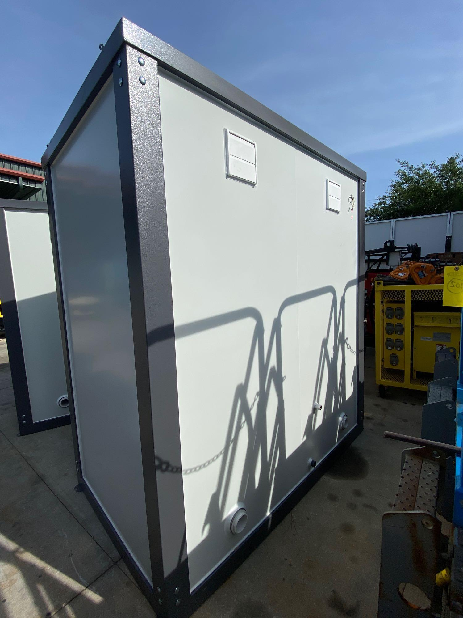 """NEW/UNUSED PORTABLE BATHROOM UNIT, TWO STALLS, PLUMBING AND ELECTRIC HOOKUP, 81"""" WIDE 90"""" TALL 51"""" D - Image 3 of 7"""