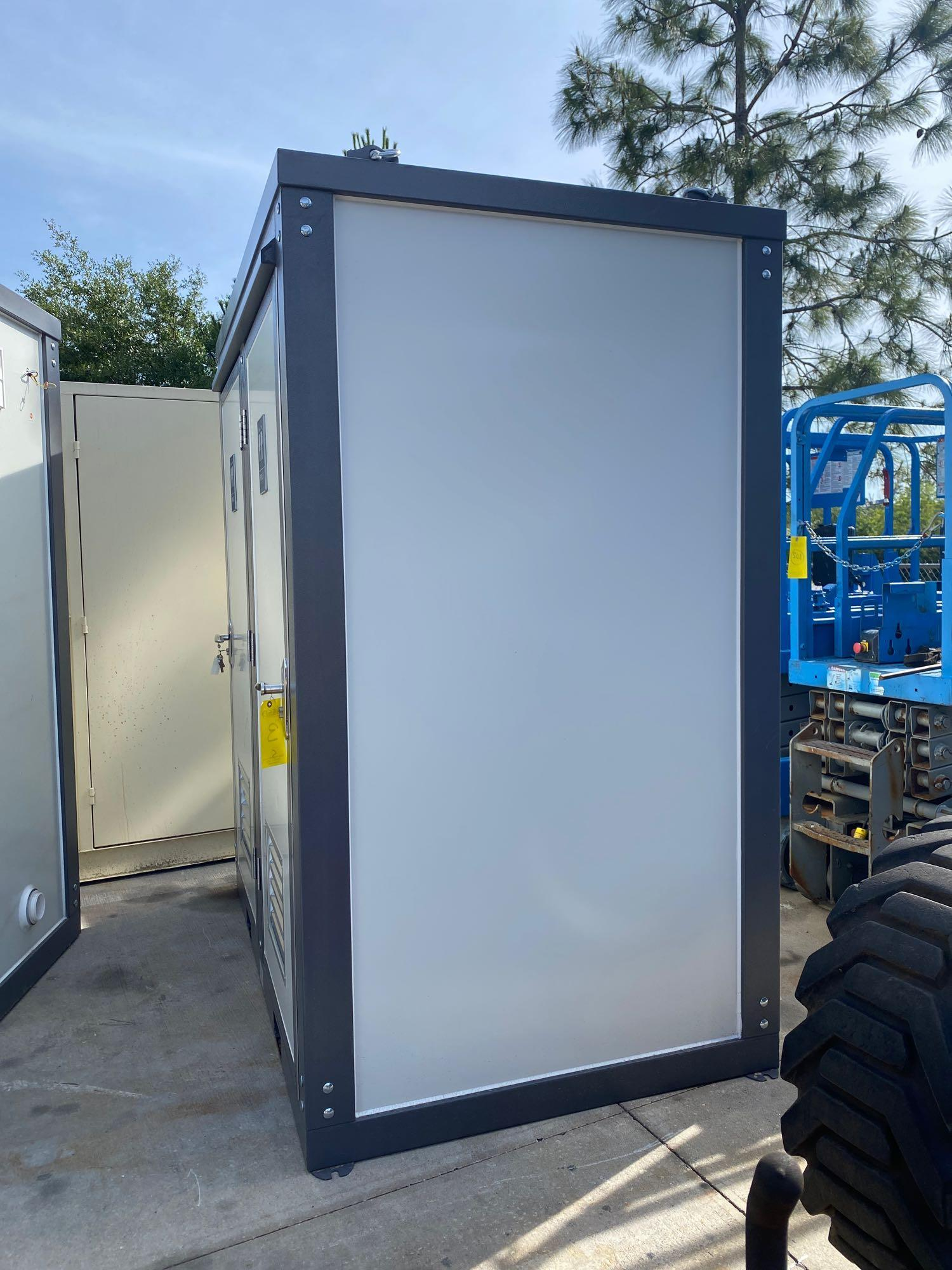 """NEW/UNUSED PORTABLE BATHROOM UNIT, TWO STALLS, PLUMBING AND ELECTRIC HOOKUP, 81"""" WIDE 90"""" TALL 51"""" D - Image 2 of 7"""