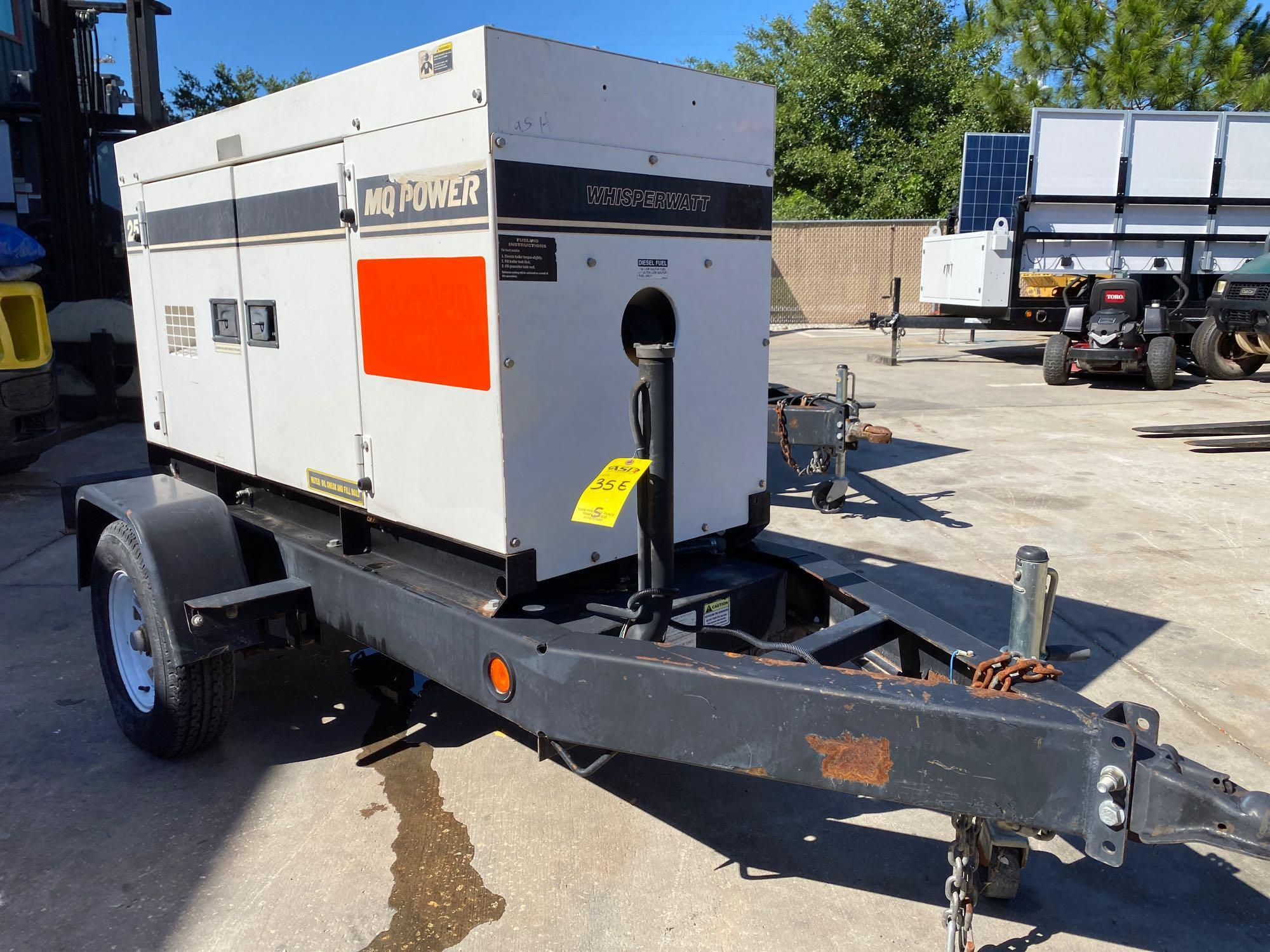 2011/2012 WHISPERWATT MQ POWER DIESEL GENERATOR, TRAILER MOUNTED, 20KW, 25KVA, RUNS AND OPERATES - Image 12 of 19