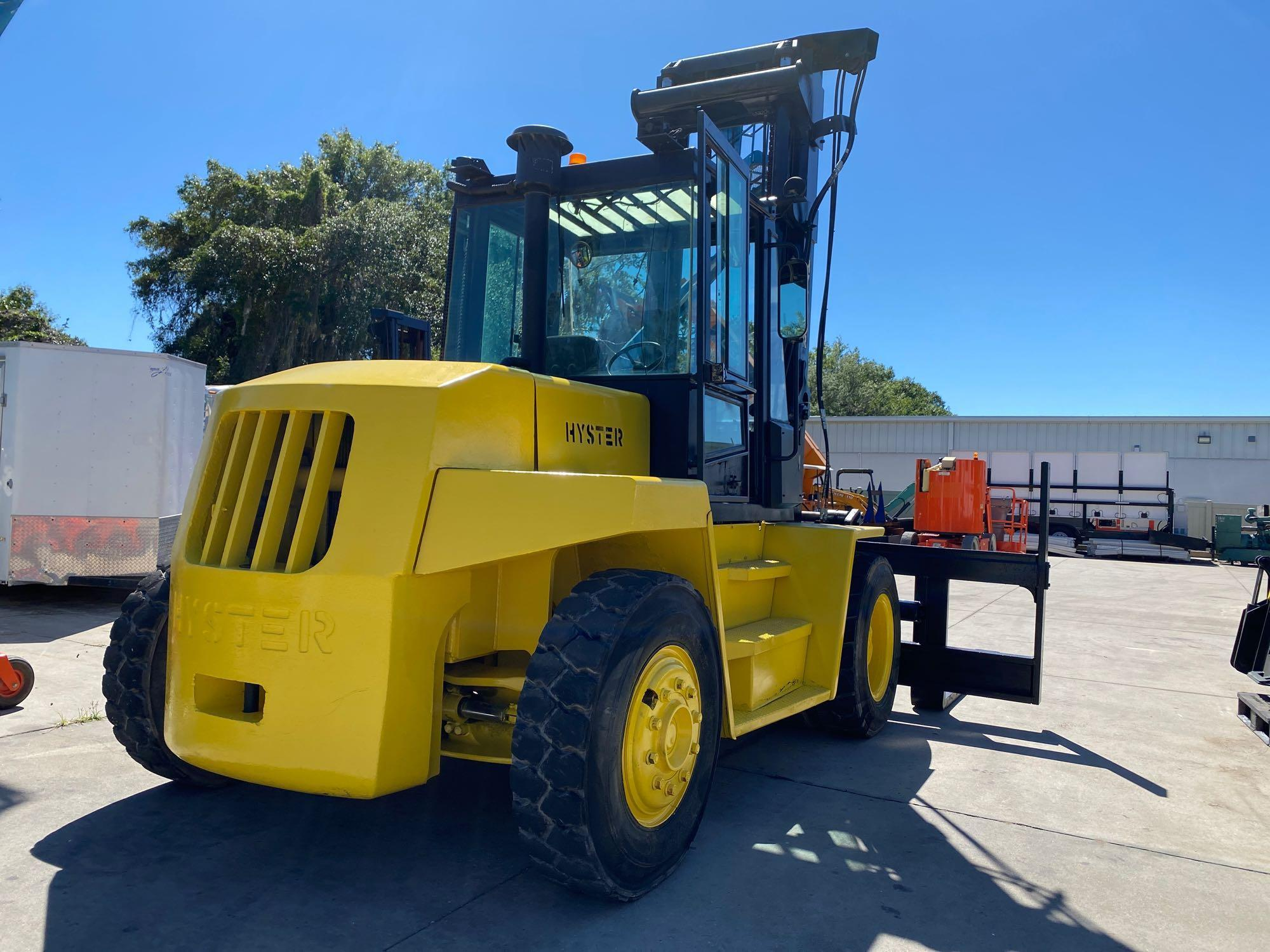 """HYSTER DIESEL FORKLIFT MODEL H190XL2, APPROX. 19,000 LB CAPACITY, 212.6"""" HEIGHT CAPACITY, RUNS AND O - Image 4 of 12"""