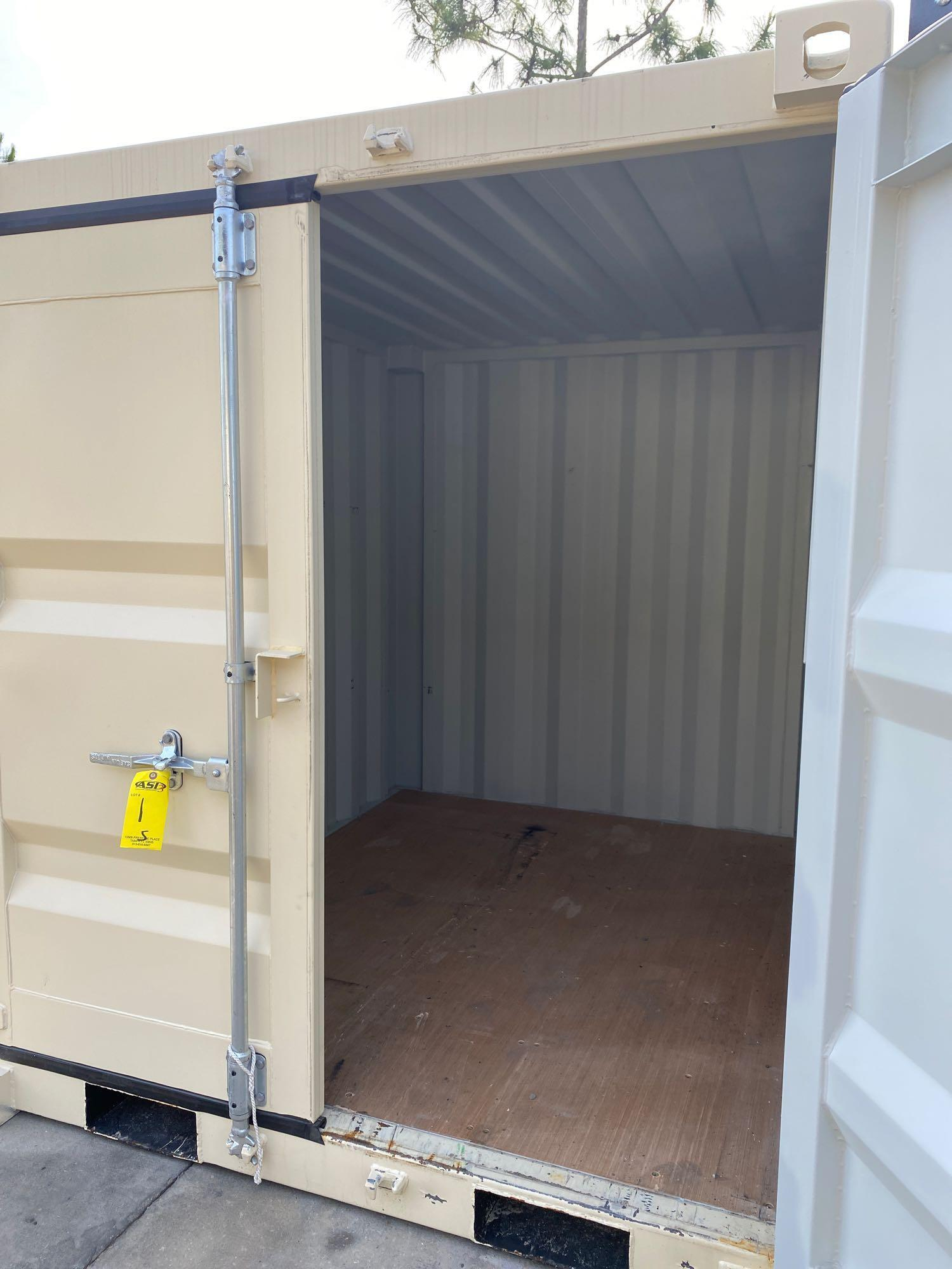 """UNUSED PORTABLE OFFICE/STORAGE CONTAINER WITH WINDOW AND SIDE DOOR, APPROX 77""""w 84""""t 98"""" deep - Image 4 of 6"""