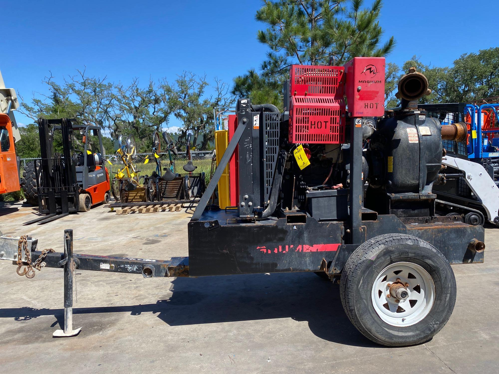 TRAILER MOUNTED MAGNUM 4 INCH DIESEL PUMP, RUNS AND OPERATES