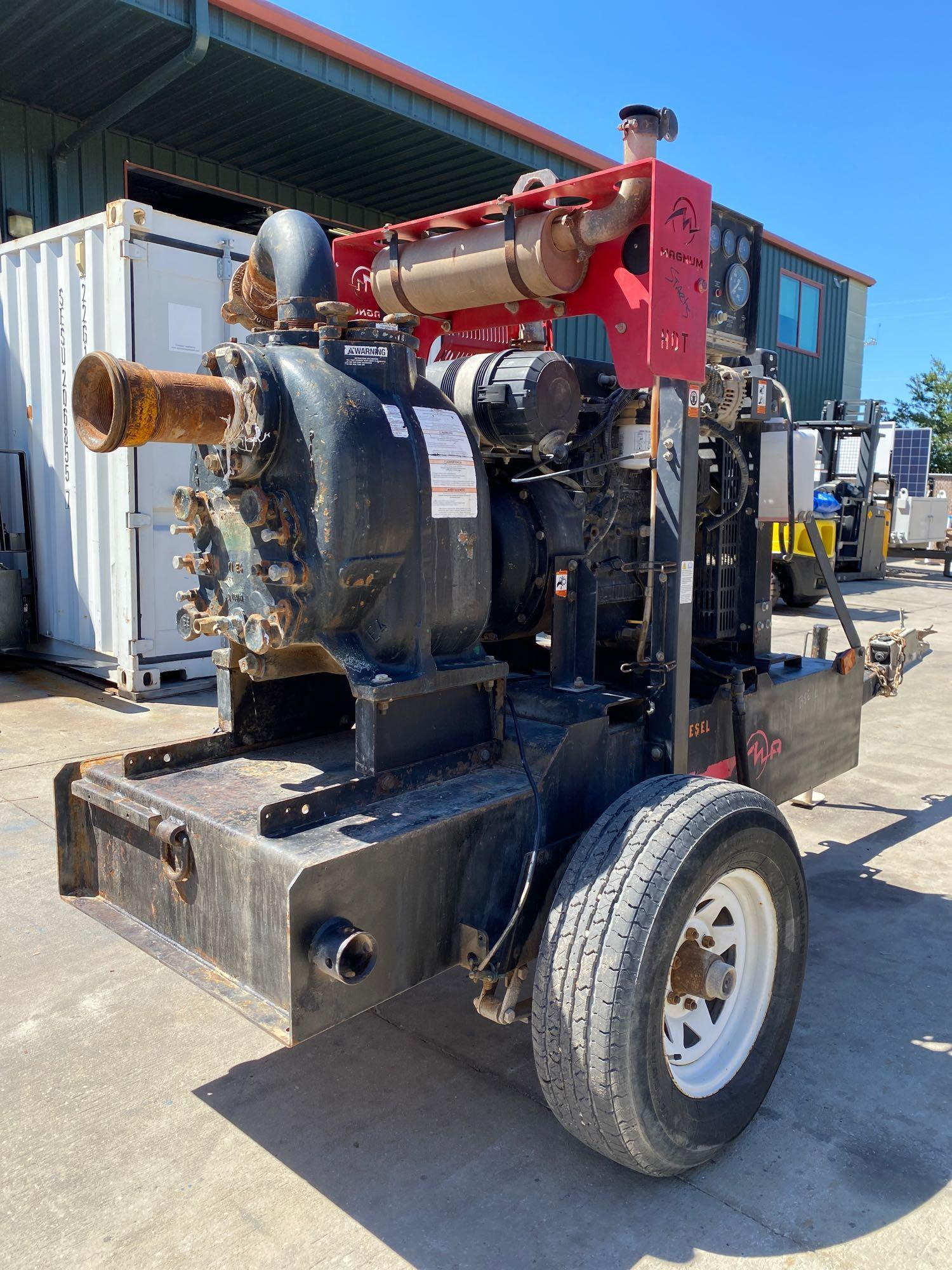 TRAILER MOUNTED MAGNUM 4 INCH DIESEL PUMP, RUNS AND OPERATES - Image 6 of 9
