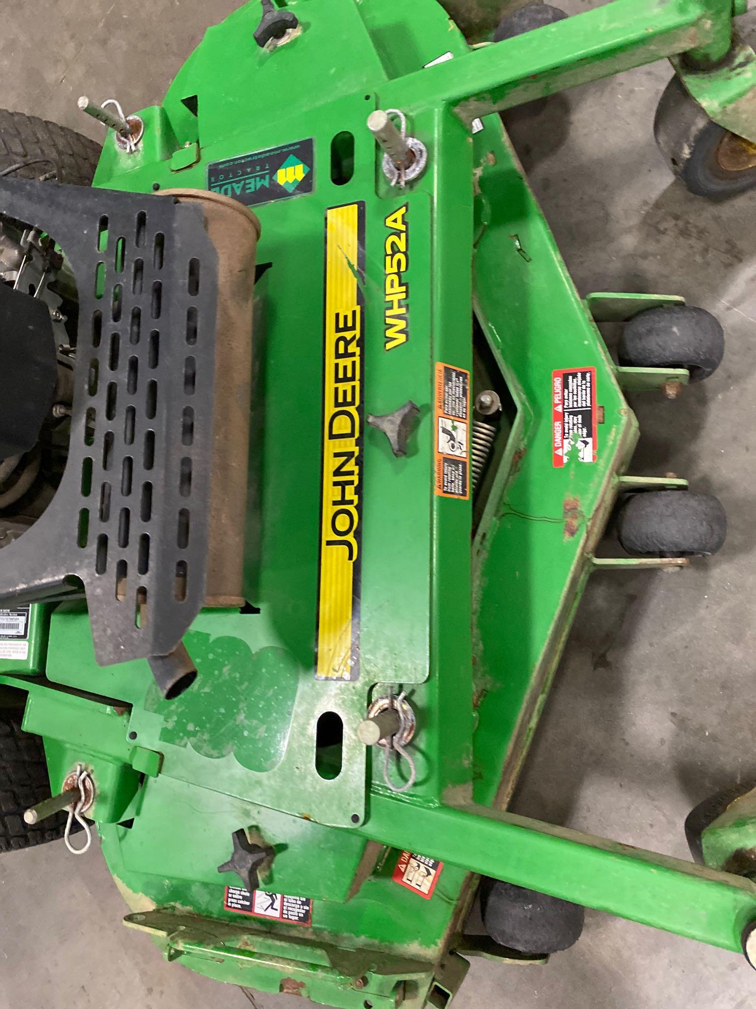 """JOHN DEERE WHP52A MOWER, 52"""" DECK, RUNS AND OPERATES - Image 6 of 7"""