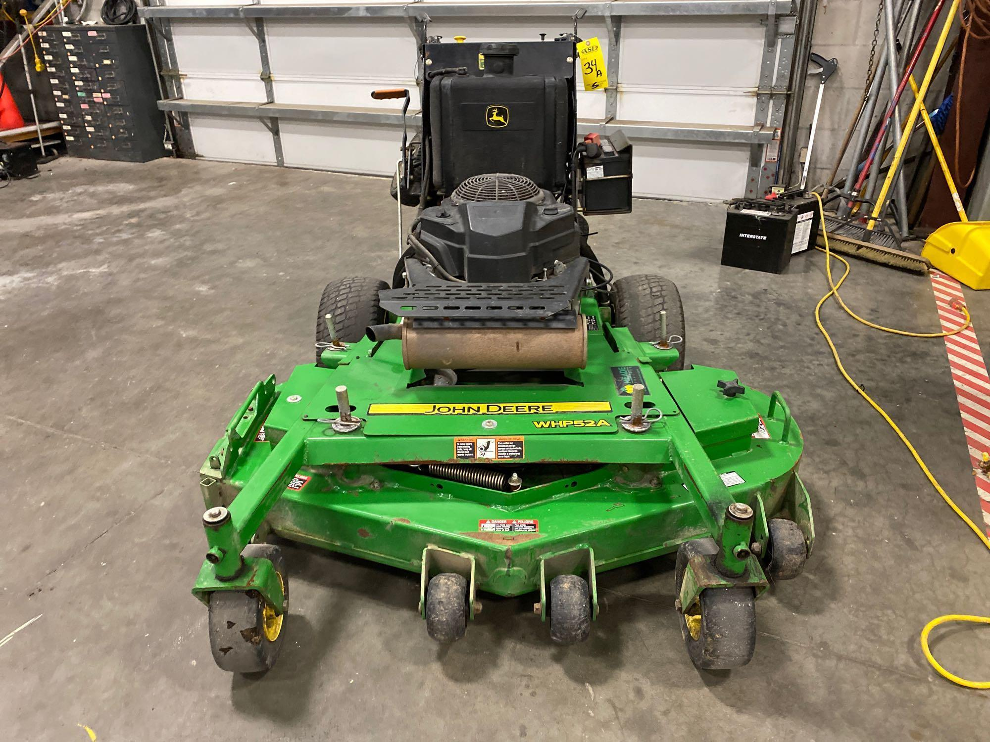 "JOHN DEERE MOWER JOHN DEERE WHP52A MOWER, 52"" DECK, RUNS AND OPERATES"
