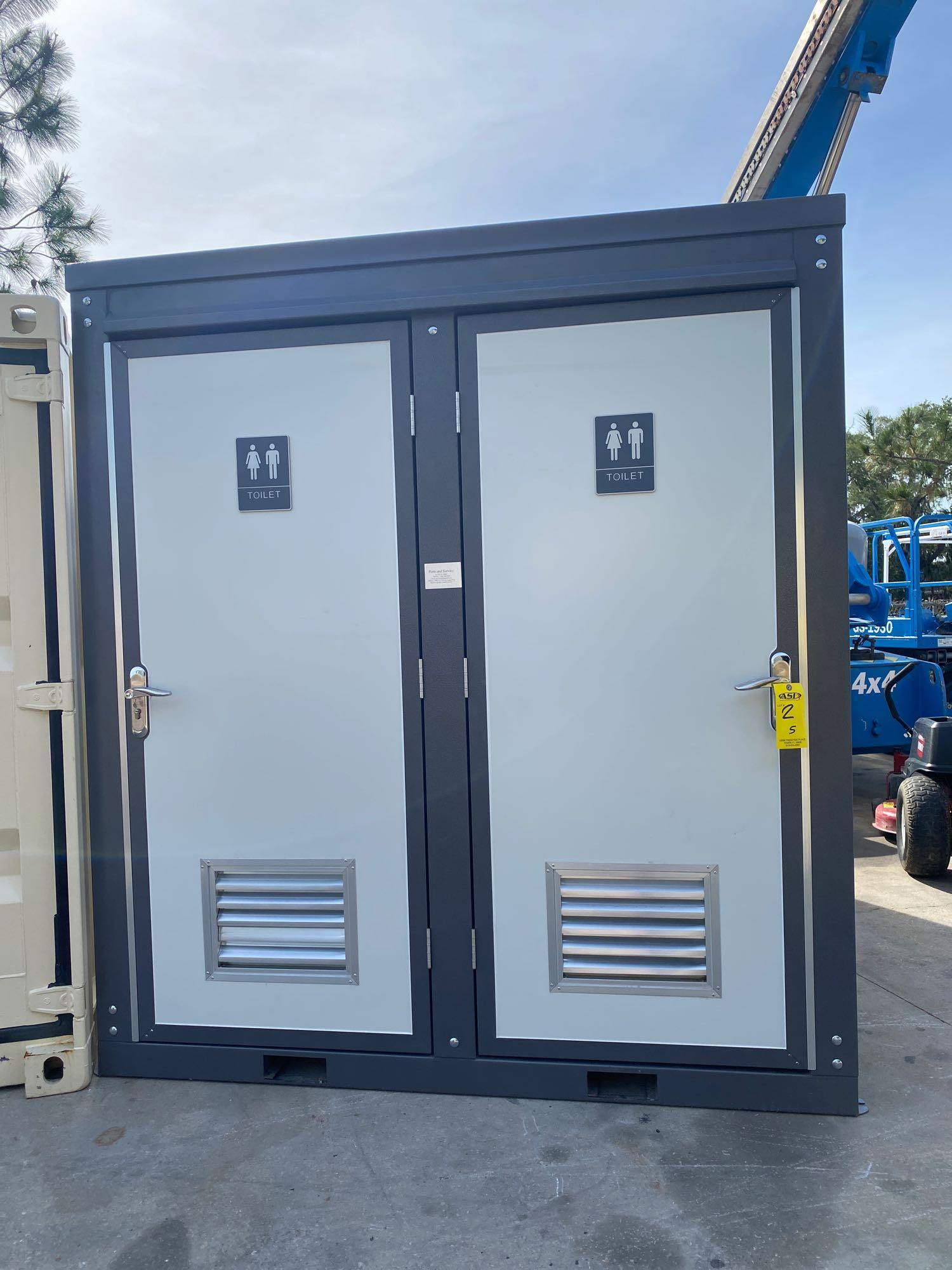 """NEW/UNUSED PORTABLE BATHROOM UNIT, TWO STALLS, PLUMBING AND ELECTRIC HOOKUP, 81"""" WIDE 90"""" TALL 51"""" D - Image 2 of 6"""