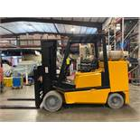 YALE LP FORKLIFT MODEL CLC120, APPROX. 12,000 LB CAPACITY, TILT, SIDE SHIFT, RUNS AND OPERATES