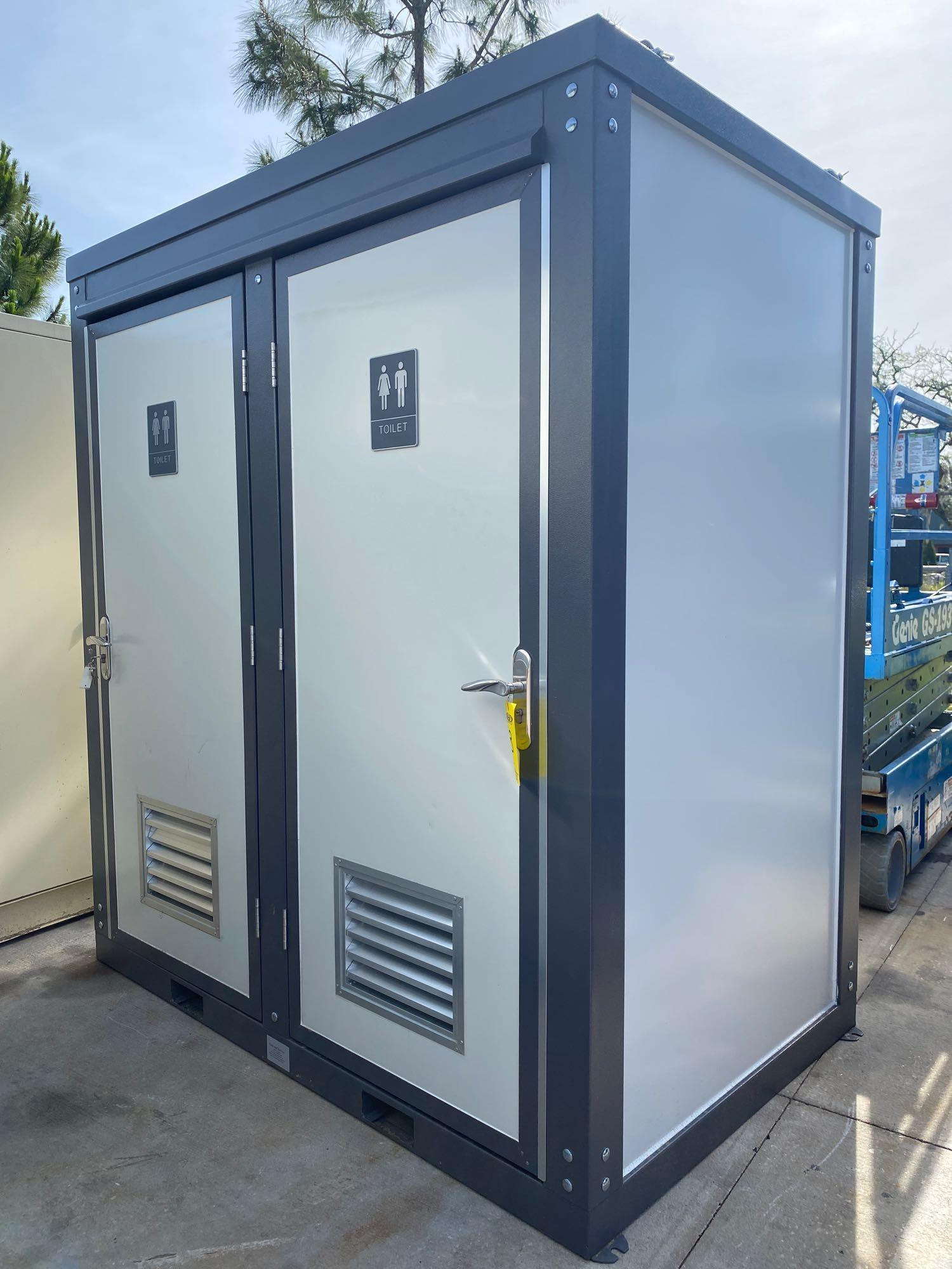 """NEW/UNUSED PORTABLE BATHROOM UNIT, TWO STALLS, PLUMBING AND ELECTRIC HOOKUP, 81"""" WIDE 90"""" TALL 51"""" D"""