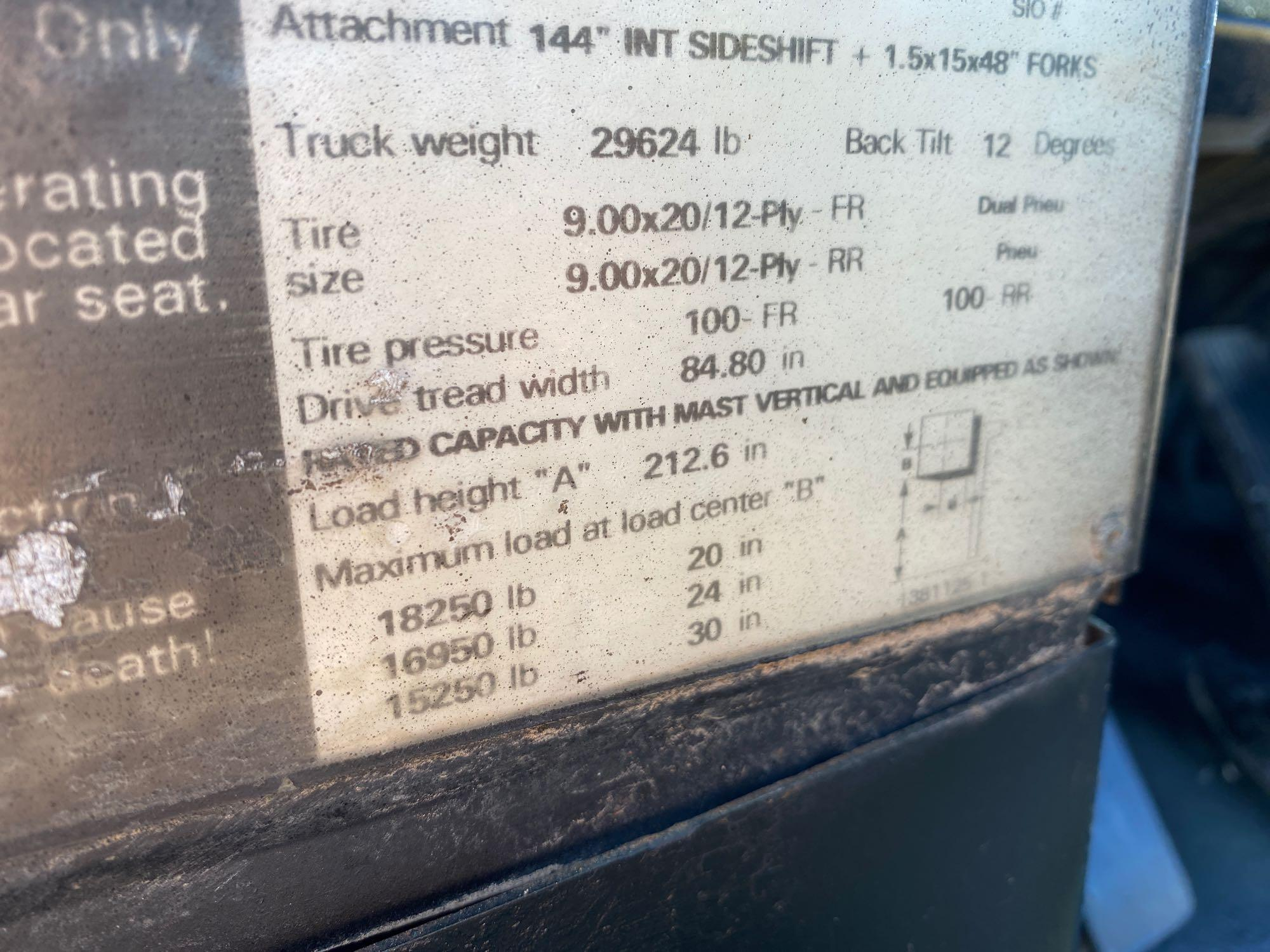 """HYSTER DIESEL FORKLIFT MODEL H190XL2, APPROX. 19,000 LB CAPACITY, 212.6"""" HEIGHT CAPACITY, RUNS AND O - Image 10 of 12"""