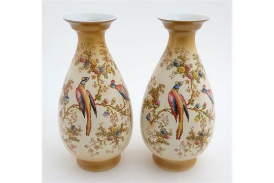 A Pair Of Early 20thc A G R And Co Ltd Crown Ducal Ware Blush Ivory