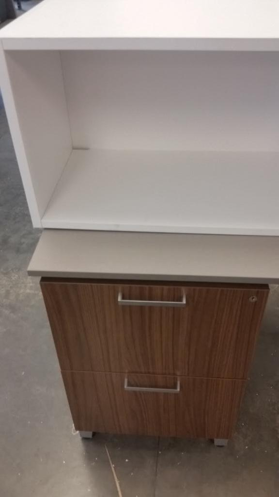 Allsteel Office Desk With 2 Overhead Cabinets 5