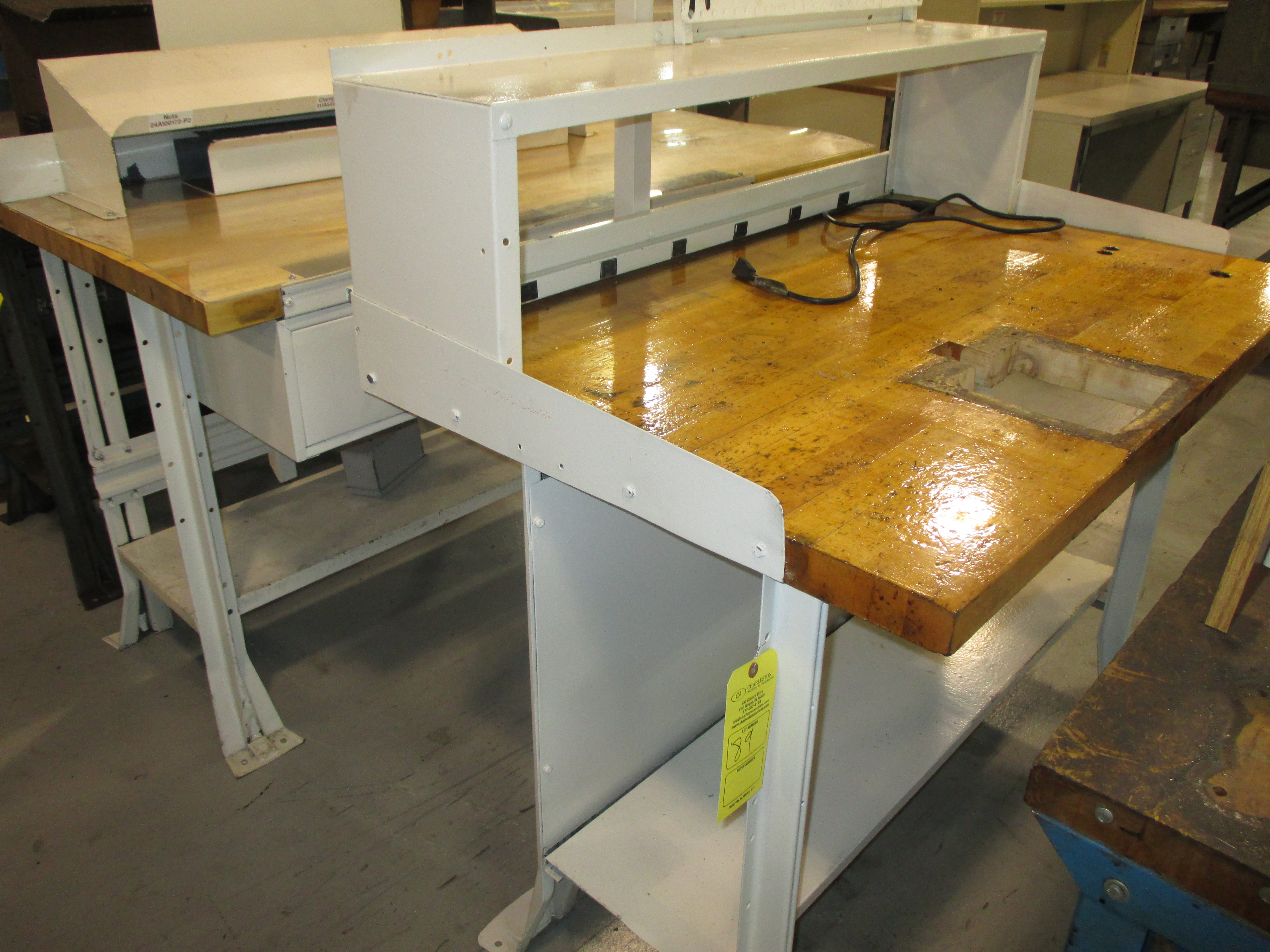 2 butcher block work benches