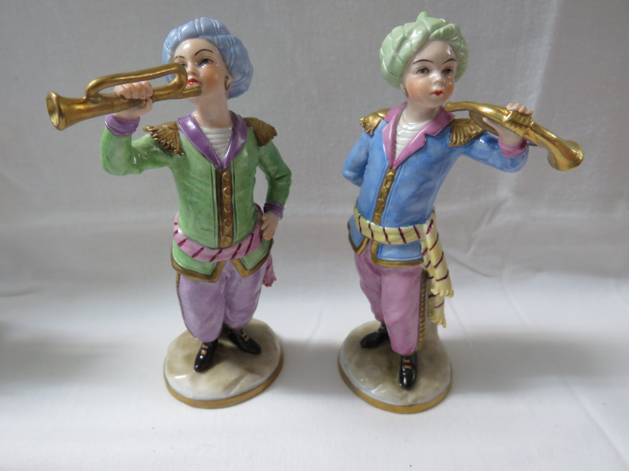 Lot 39 - A limited edition Sitzendorf Turkish Band group, six boy musicians with instruments (each about