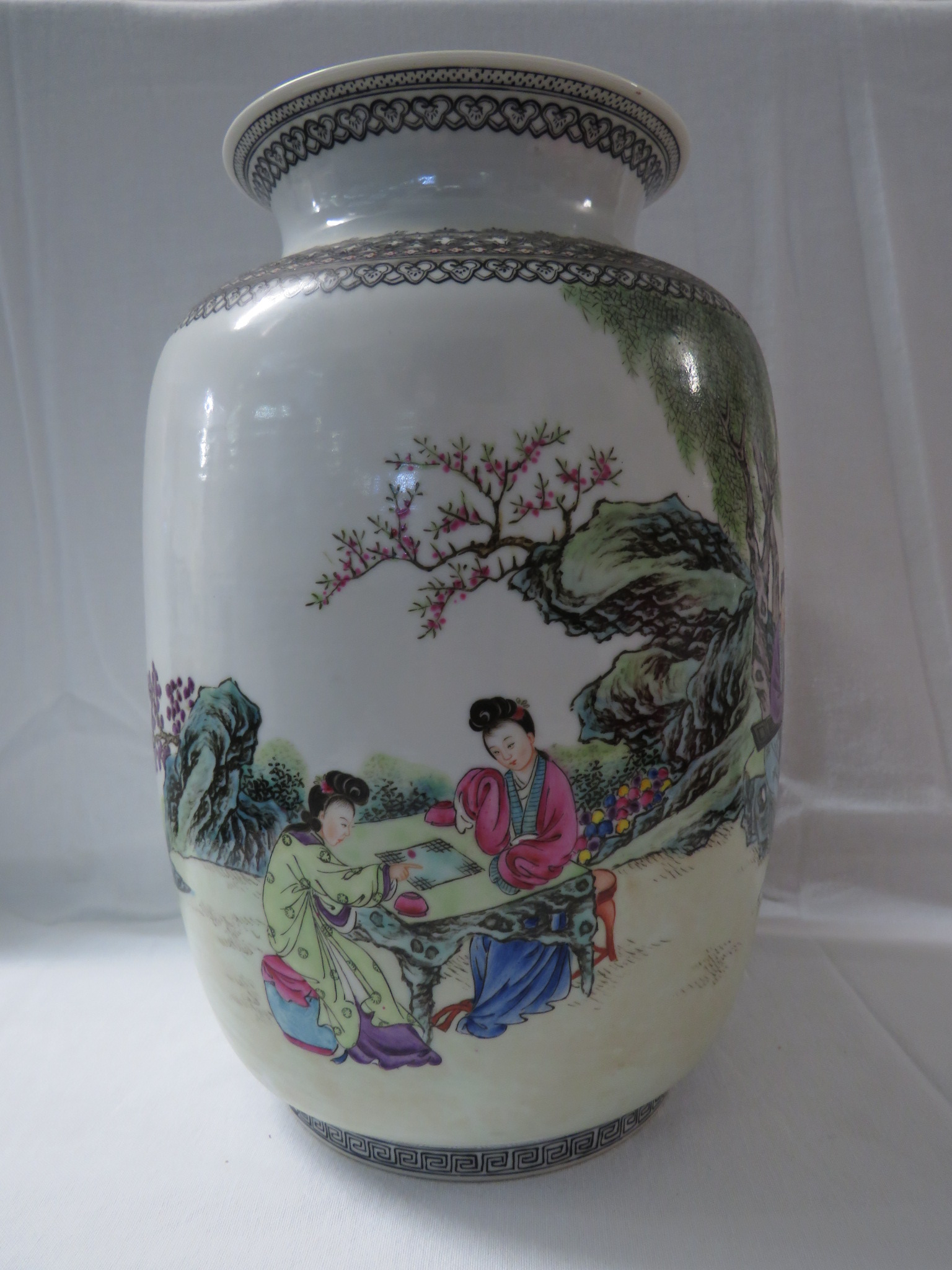 Lot 32 - **Payment in person or by bank transfer only**Chinese porcelain vase of broad cylindrical form