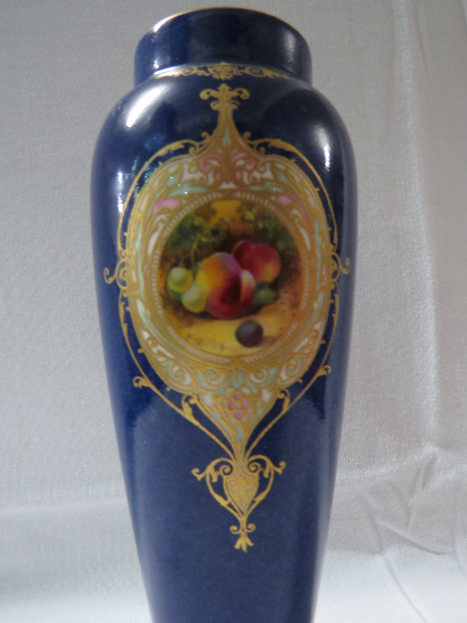 Lot 15 - Royal Worcester porcelain vase hand painted by Moseley, high-shouldered slender baluster form,