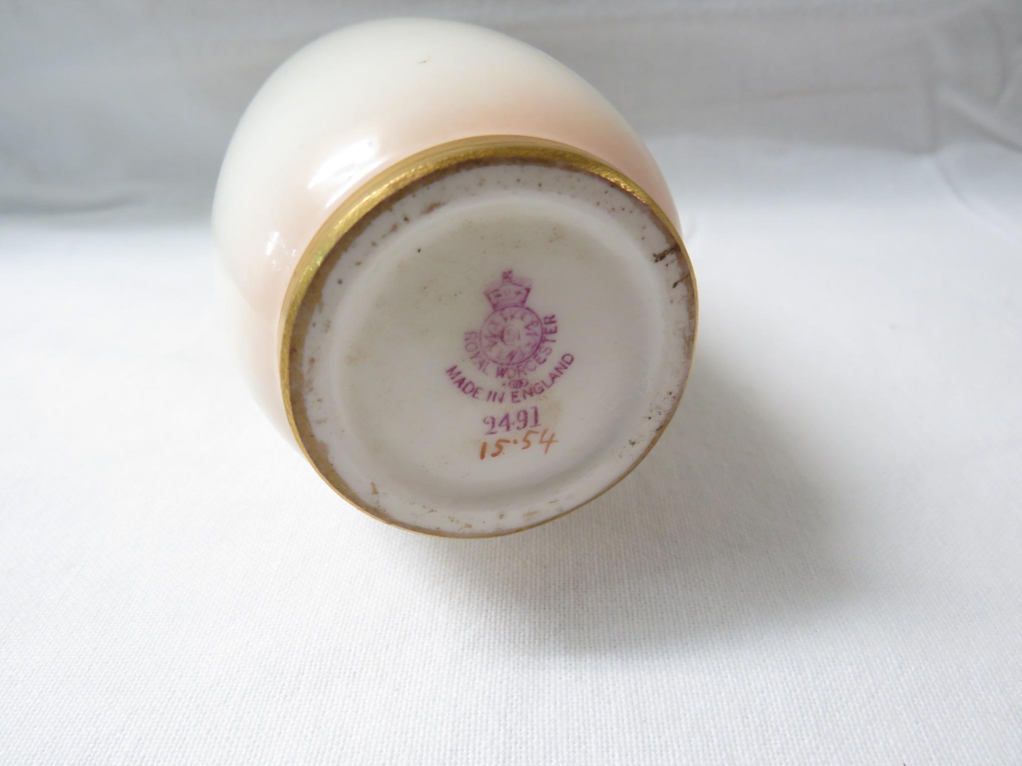 Lot 17 - Royal Worcester porcelain vase, slender ovoid form, hand painted decoration of pink roses, signed