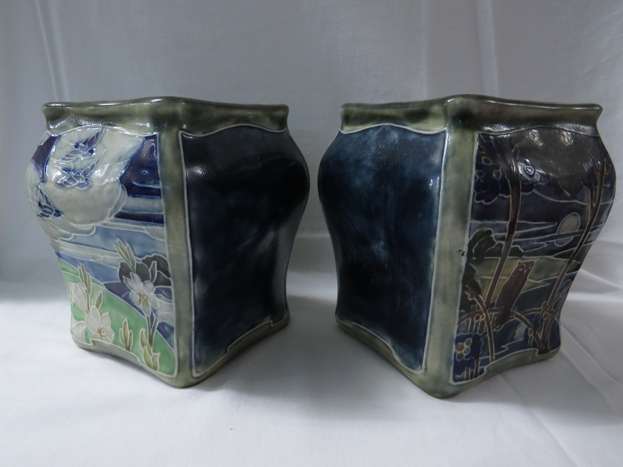 Lot 52 - Pair of Doulton Lambeth 'Day and Night' vases understood to be designed by Francis Pope, of