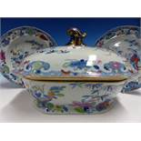 A 19th.C. WARRANTED PATENT IRONSTONE CHINA TWENTY THREE PIECE PART DINNER SERVICE PRINTED IN BLUE