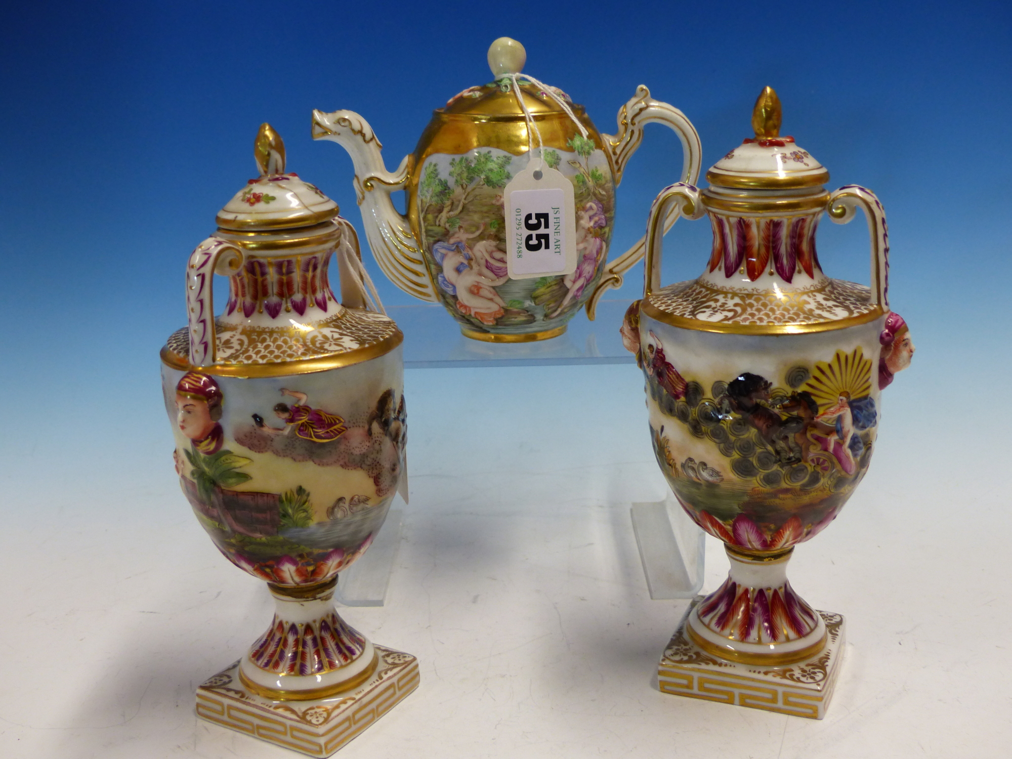 Lot 55 - A PAIR OF CAPODIMONTE COVERED TWO HANDLED BALUSTER VASES MOULDED AND PAINTED WITH CLASSICAL FIGURES.