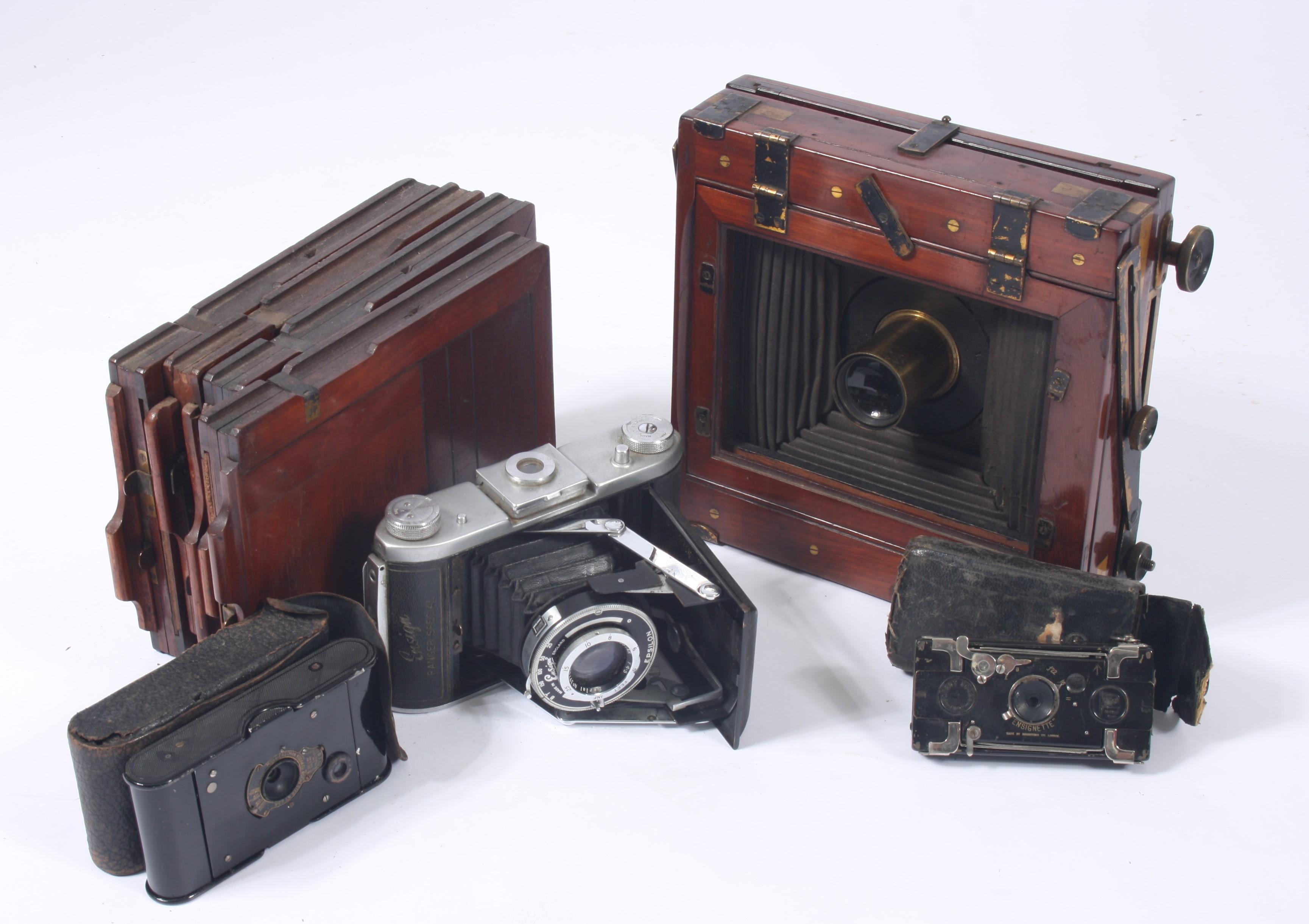 Lot 7 - A mahogany folding plate camera, an Ensign Ranger Special camera,