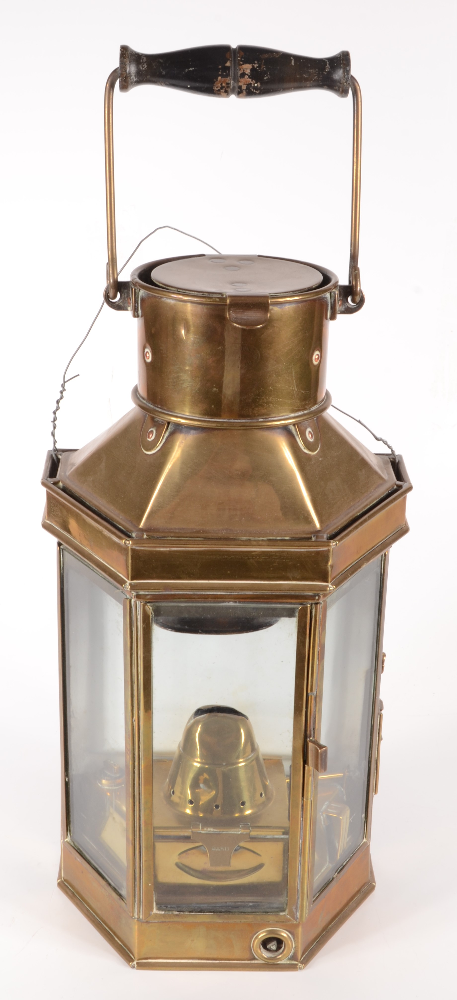 Lot 25 - A brass ships lamp, impressed Bulpitt, early 20th century, with a central glazed door, height 41cm,