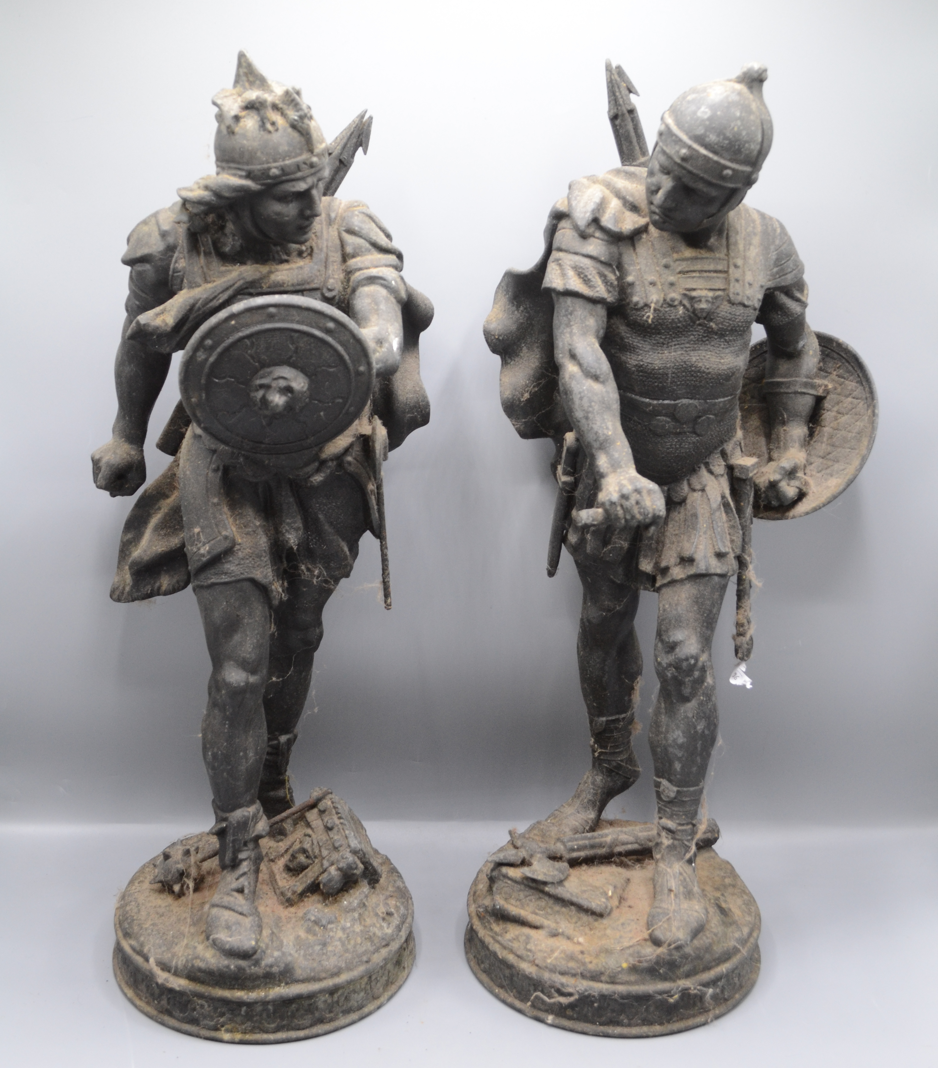 Lot 3 - A pair of spelter figures of Romulus and Remus, 19th century, each height 54cm.