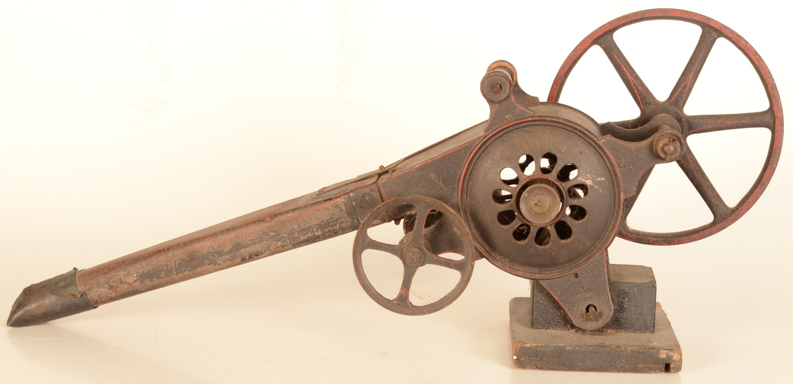 Lot 4 - A set of cast iron, tinplate and brass mechanical peat bellows, 19th century,