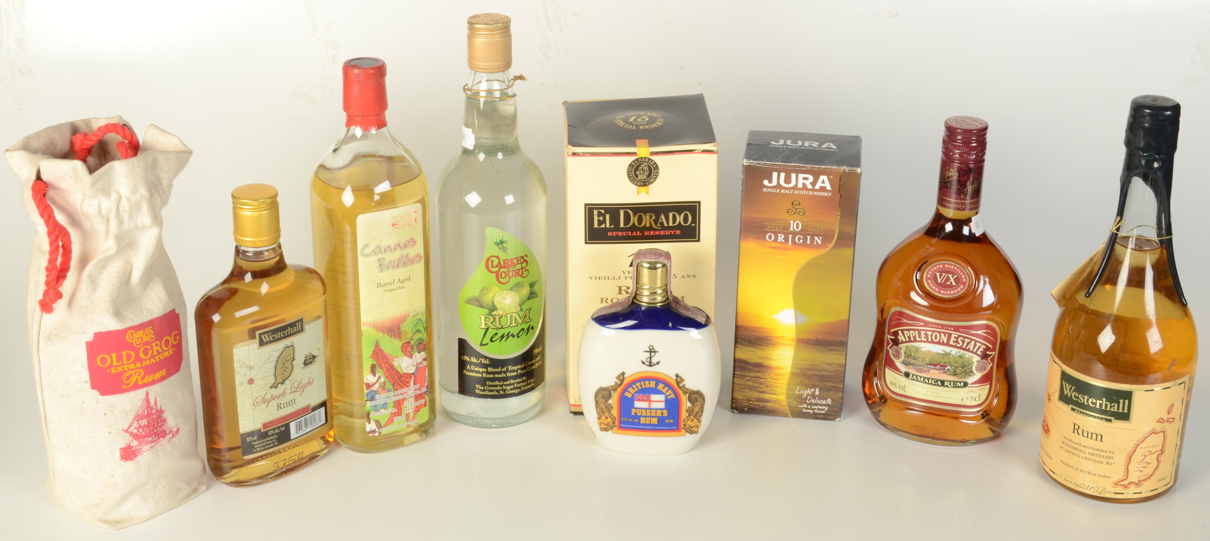 Lot 58 - Nine bottles of rum, to include Appleton Estate Jamaica,