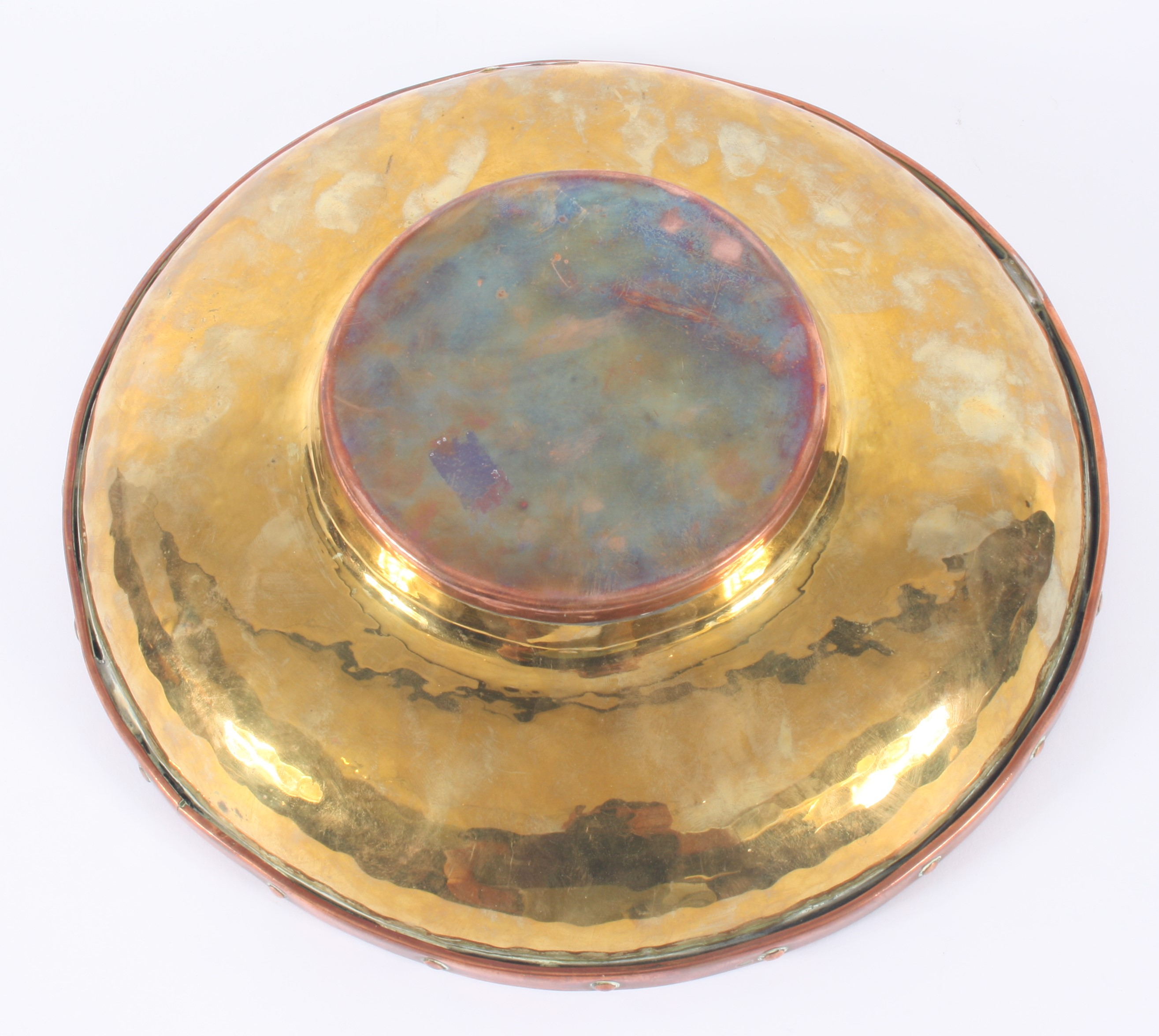 Lot 43 - An Arts and Crafts brass and copper bowl, height 7cm, diameter 28.
