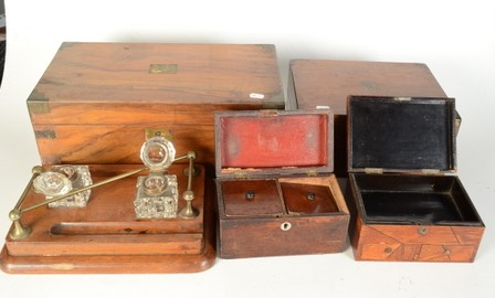 Lot 1 - A Victorian oak ink stand, with a pair of cut glass inkwells and brass rail, height 12cm, width 33.