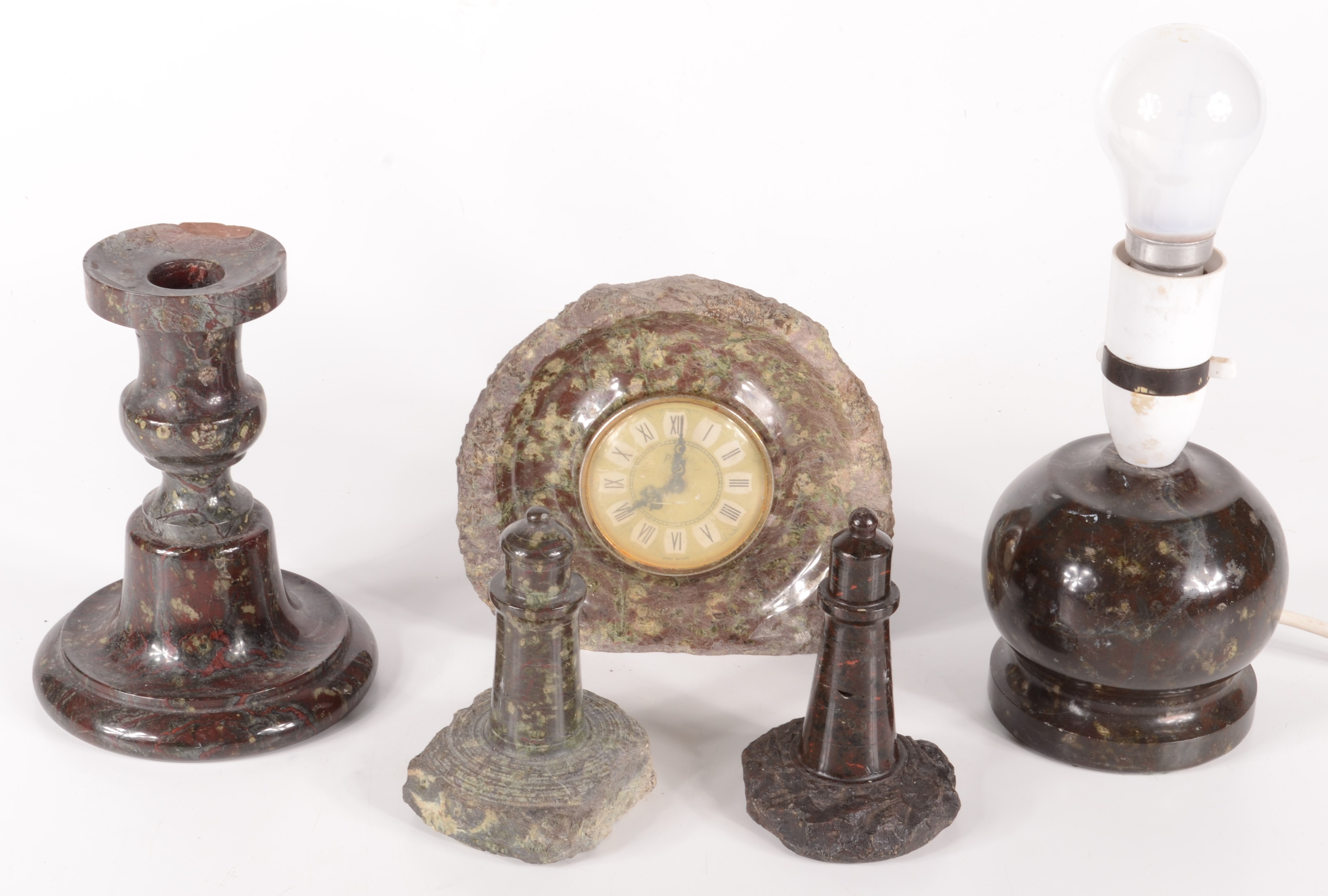 Lot 13 - Miscellaneous Cornish serpentine, to include a candlestick, height 15cm, a lamp base,