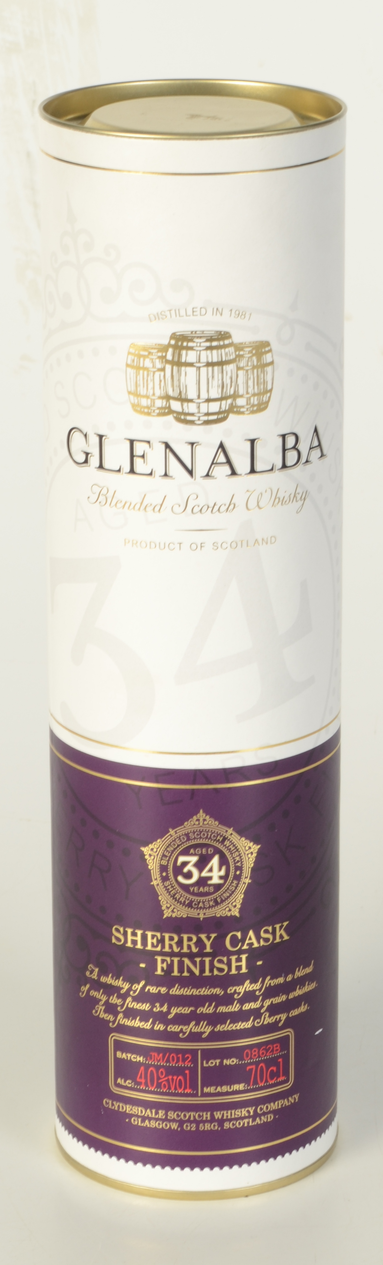 Lot 55 - A Glenalba 34 year old blended Scotch whisky, in original tube, 70cl, 40% vol.