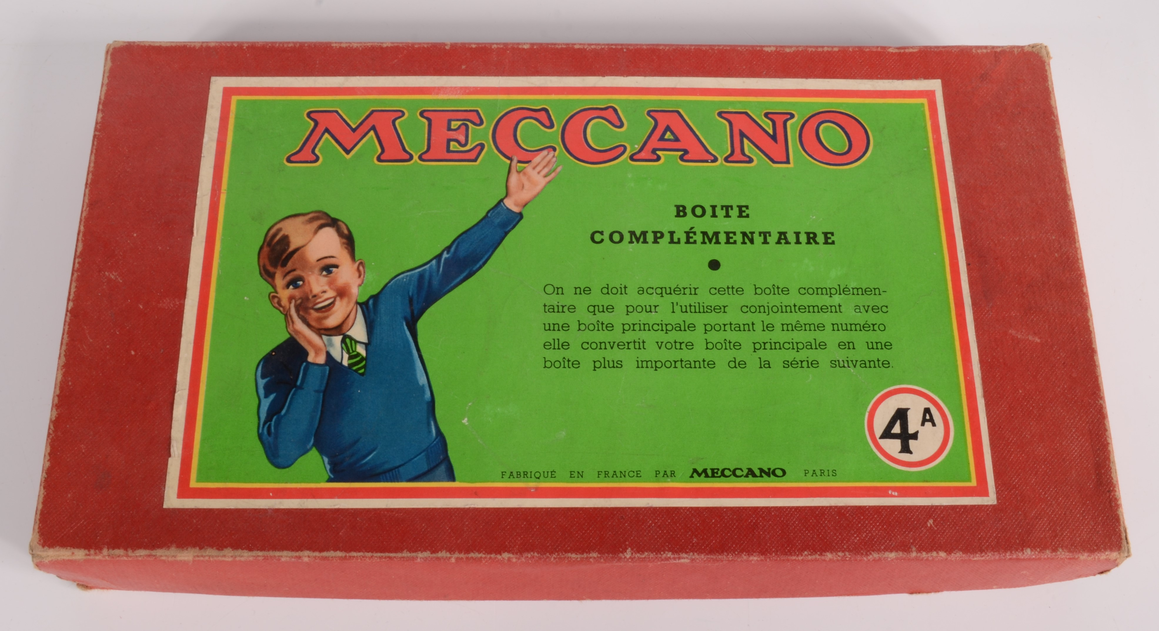 Lot 12 - A Meccano set 4A, possibly 1920s, box inscribed 'Boite Complementaire'.