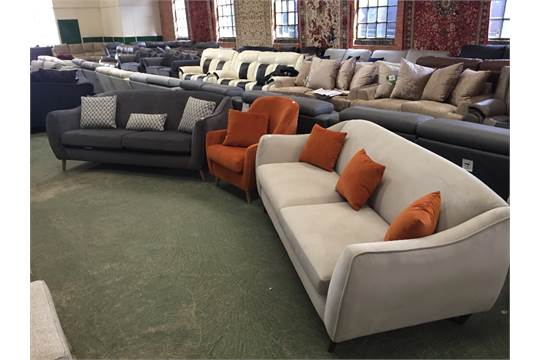 Swell Grey 3 Seater Sofa Orange Accent Chair And Light Grey 3 Machost Co Dining Chair Design Ideas Machostcouk