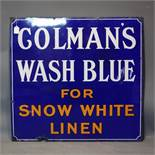 A vintage enamel sign for 'Colman's wash blue for snow white linen', 92 x 97cm