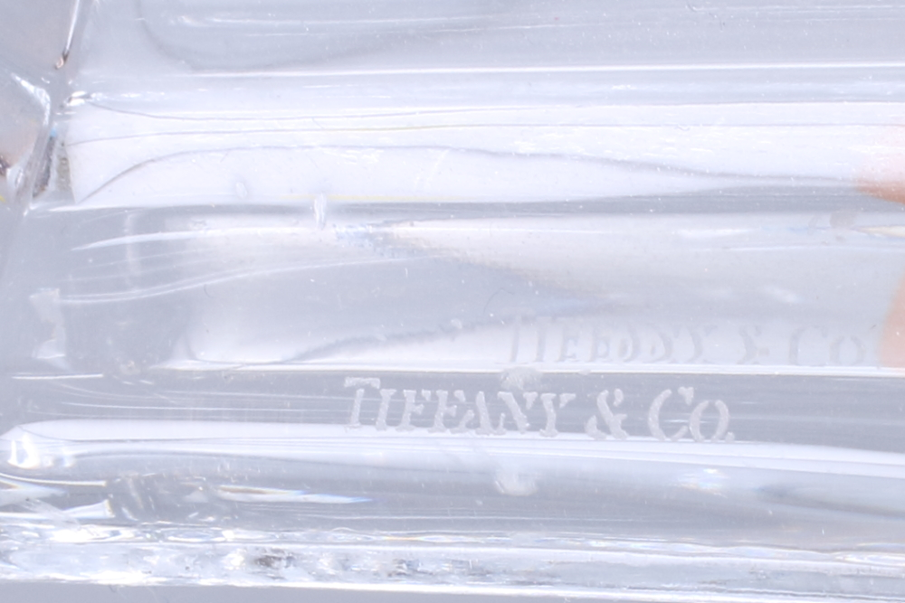 "Lot 49 - A pair of mid 20th century Tiffany & Co hexagonal glass candlesticks, 8"" high"