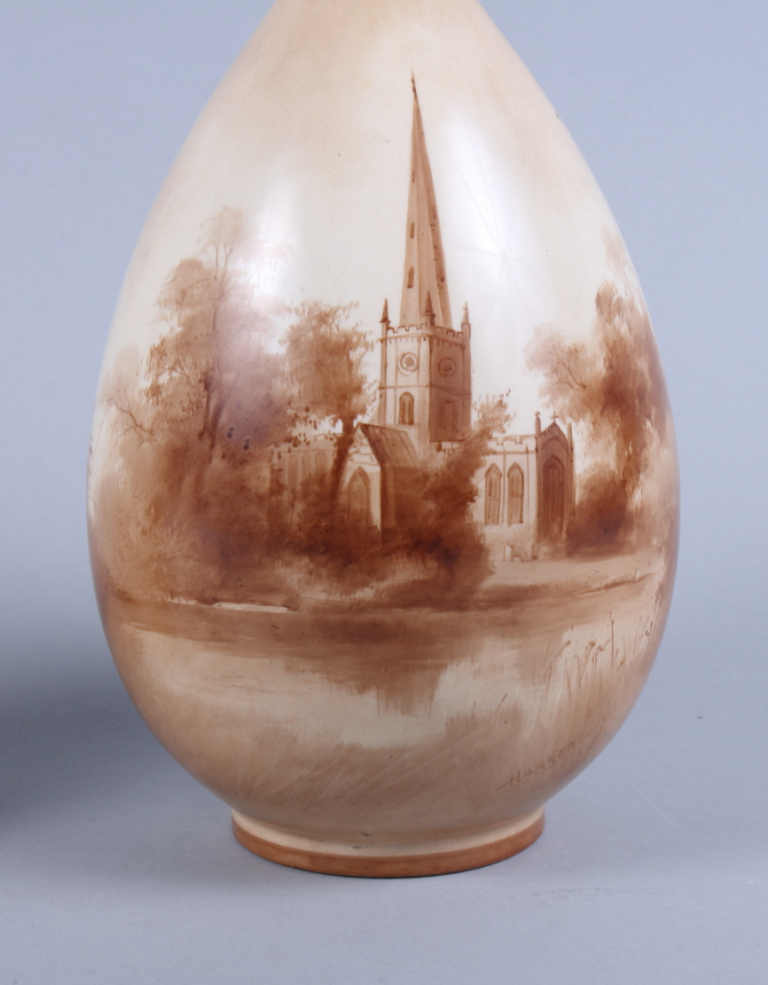 Lot 41 - A Doulton Burslem baluster vase, decorated with a view of Stratford Church signed Hammersley, 10 1/