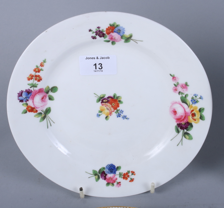 "Lot 13 - A Swansea porcelain dish, decorated floral sprays, 9"" dia, two similar smaller and a similar"