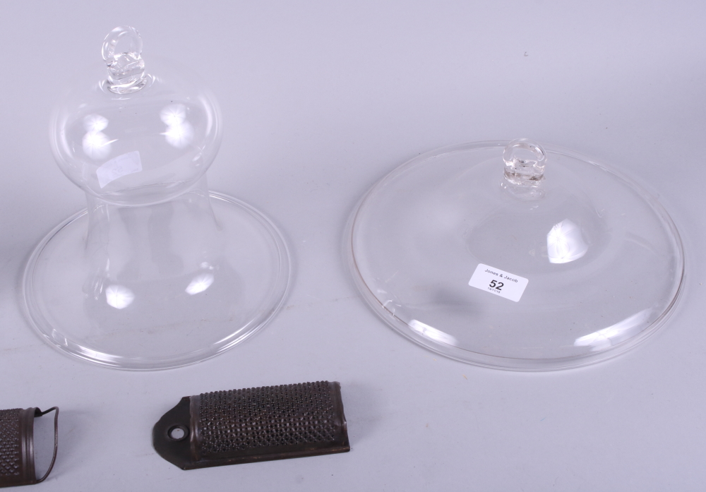 Lot 52 - A set of four Victorian glass light shades with two metal nutmeg graters