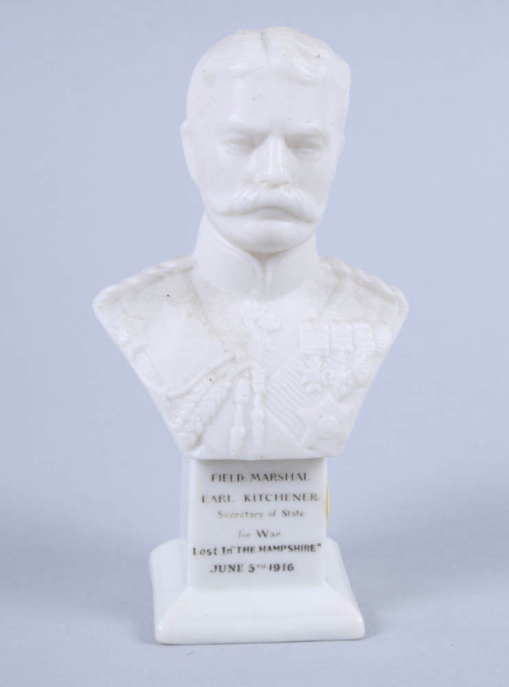 """Lot 1 - An early 20th century Shelley Parian ware bust of Field Marshall Earl Kitchener, 4 1/2"""" high"""