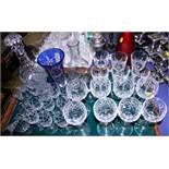Eight Stuart cut glass hocks, eight Stuart cut glass sherries, six cut glass ports, a decanter and