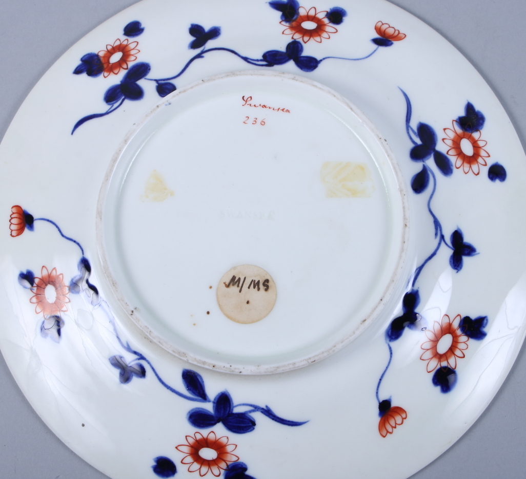 """Lot 12 - A pair of Swansea porcelain dishes, decorated in the Imari palette, 7 1/2"""" dia"""