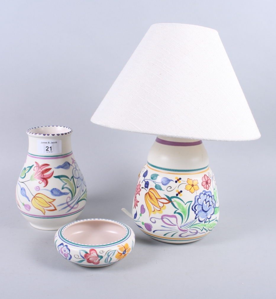 Lot 38 - A Poole pottery table lamp, together with two other pieces of Poole pottery