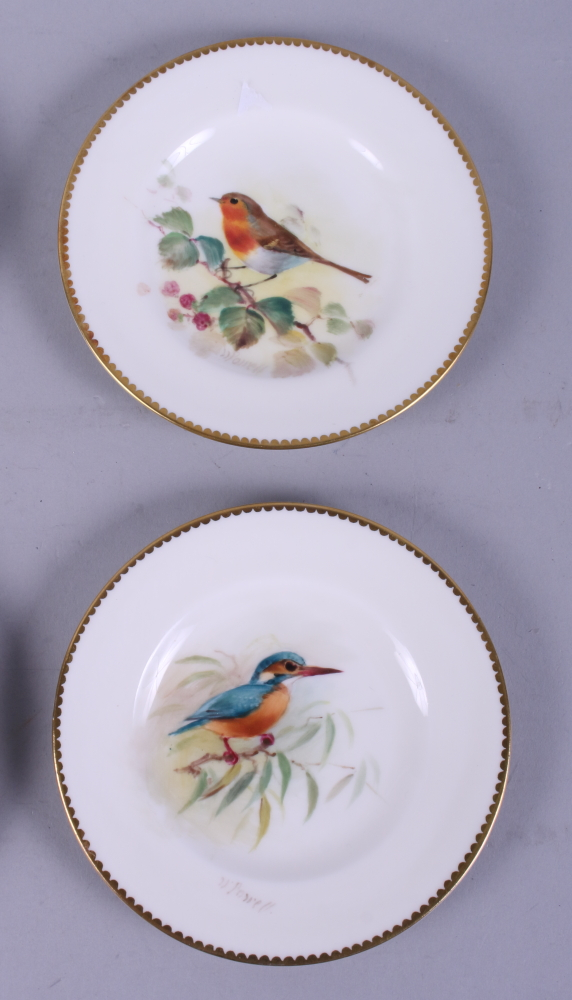 """Lot 21 - A set of six early 20th century Royal Worcester porcelain plates, birds by Henry Powell, 4 1/4"""" dia"""
