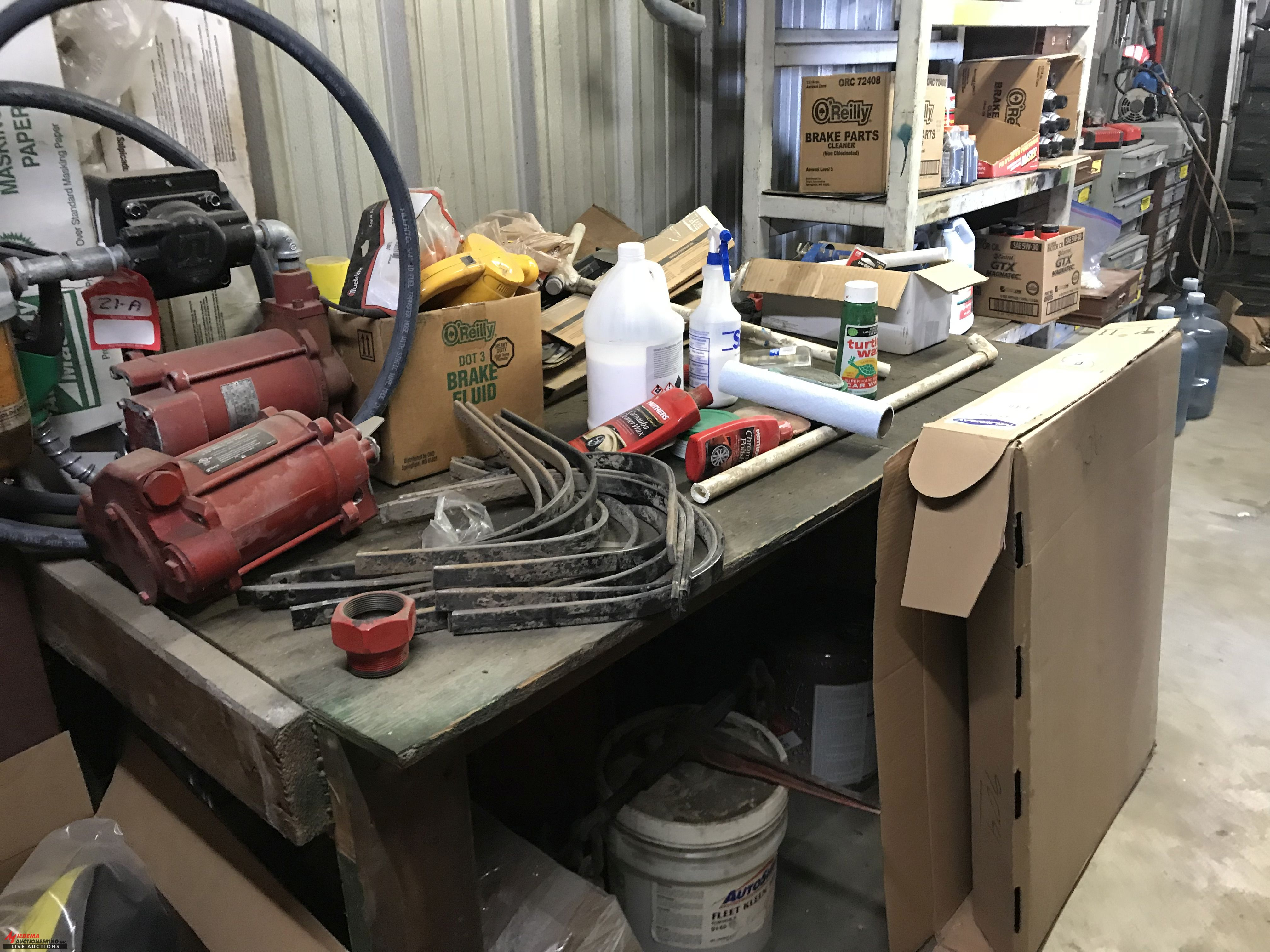 Lot 21A - ELECTRIC FUEL PUMP, WITH HOSE AND NOZZLE, AND ASSORTED BELTS AND SUPPLIES, INCLUDES OILS, BRAKE