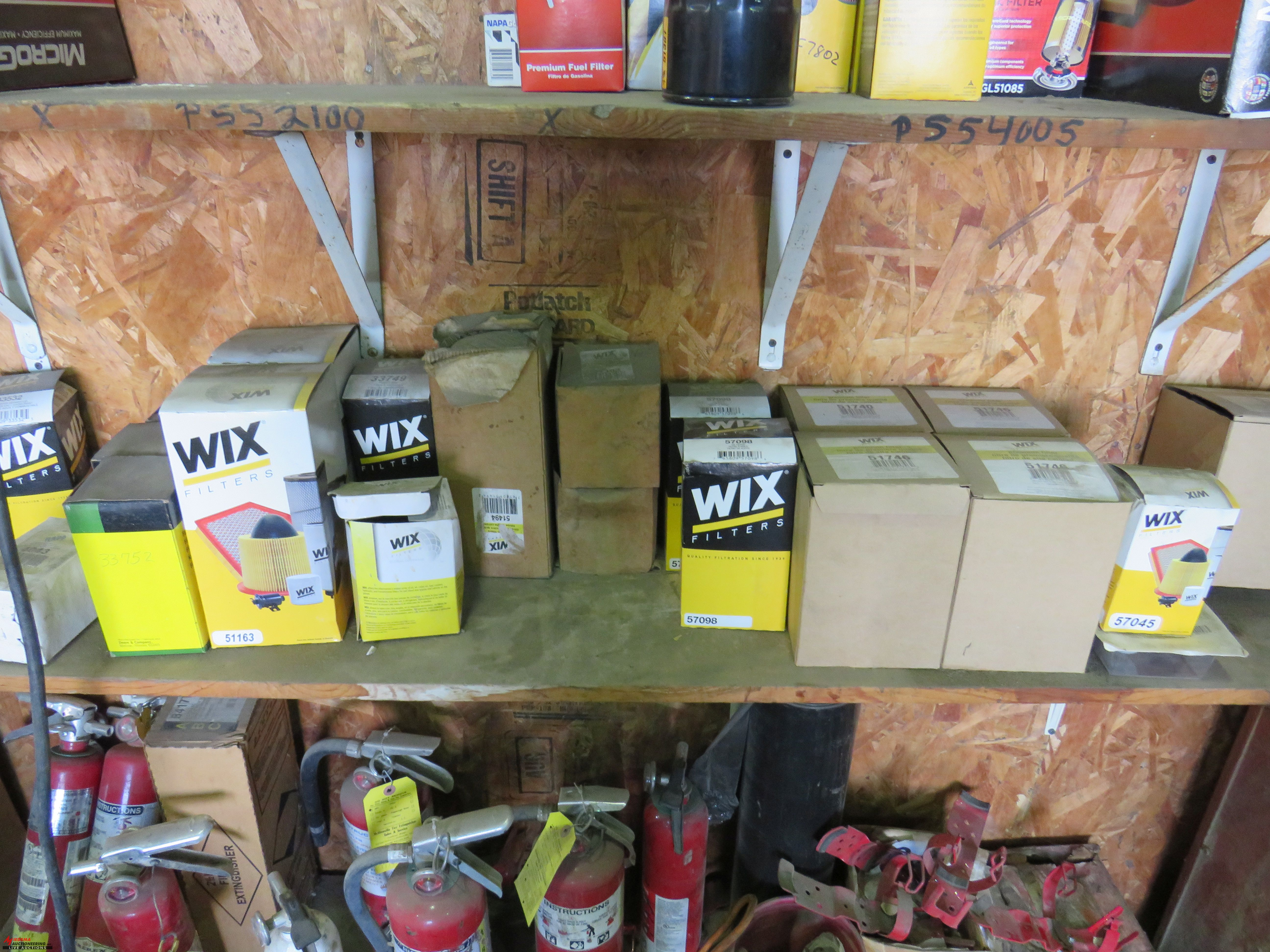 Lot 26 - ASSORTED FILTERS (OIL AND AIR), FIRE EXTINGUISHERS, AND ASSORTED LUBRICANTS
