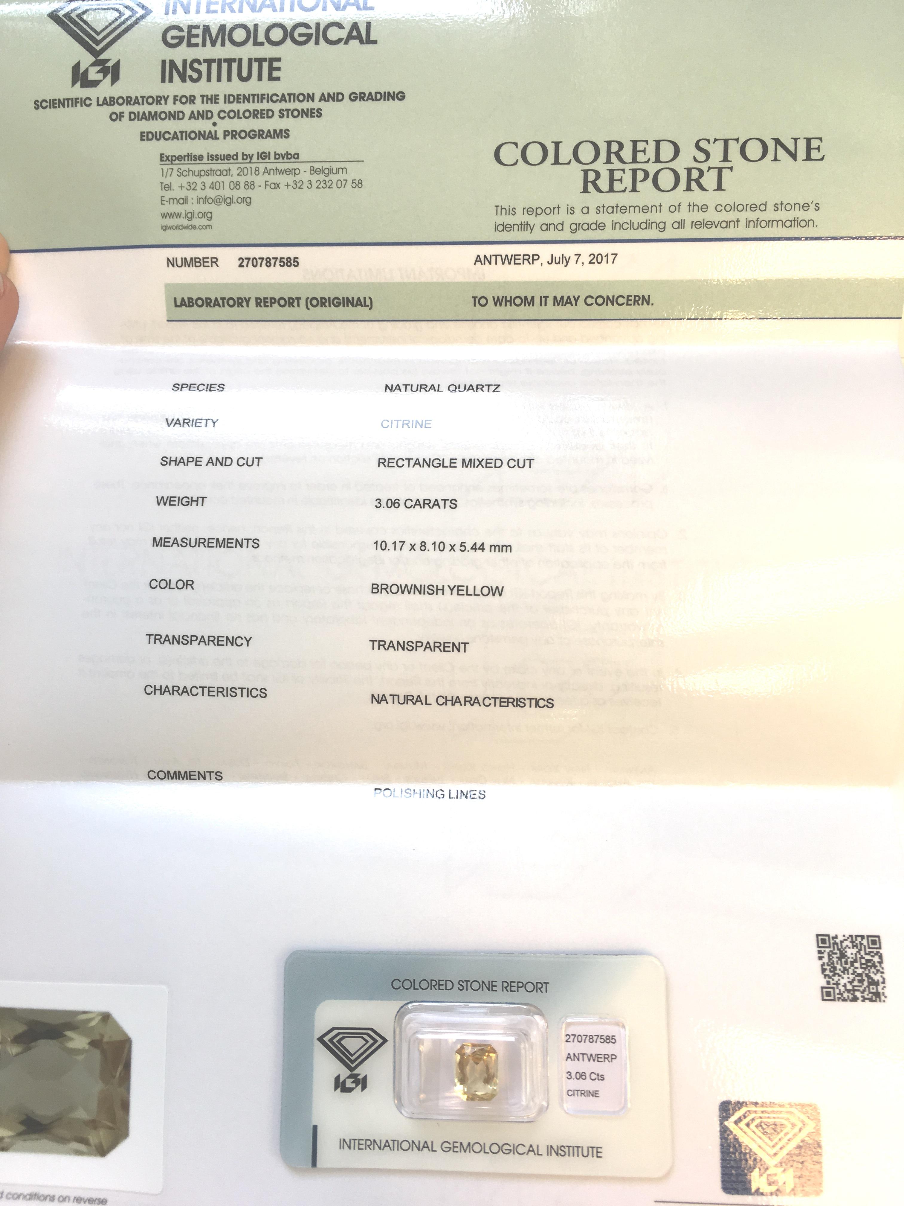 Lot 6 - 3.06ct Natural Citrine with IGI Certificate