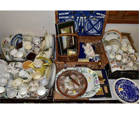 THREE BOXES, WICKER BASKETS AND LOOSE CERAMICS, GLASS ETC, to include an 'Optima' wicker picnic basket, Pimpernel coasters an