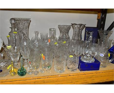VARIOUS CUT AND ETCHED GLASSWARES, ETC, to include boxed Tutbury vase, height 18.5cm, a boxed Tutbury paperweight (engraved),